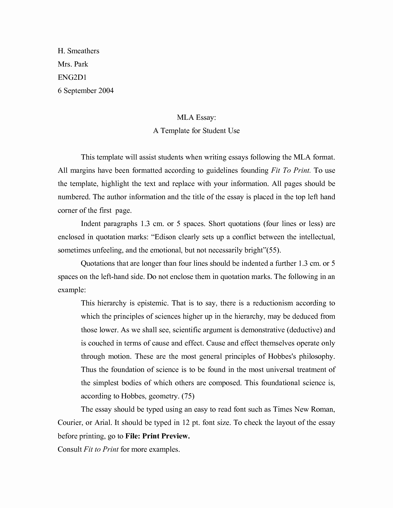 Mla formatted Research Paper Example Beautiful Mla format Template