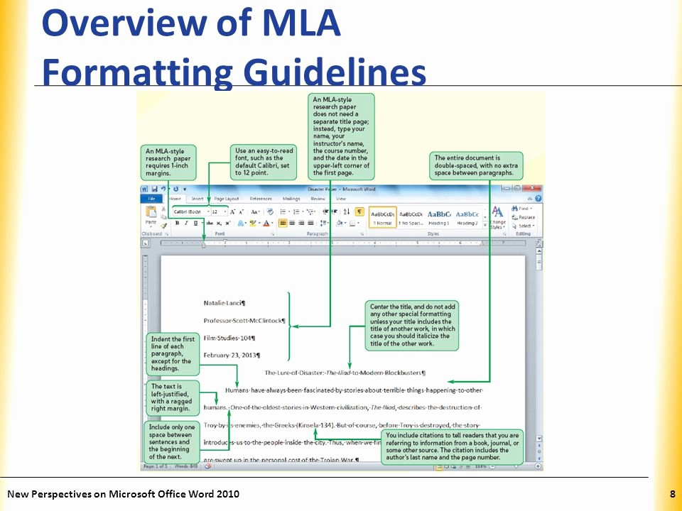 Mla formatting In Word 2010 Best Of Word Tutorial 2 Editing and formatting A Document Ppt