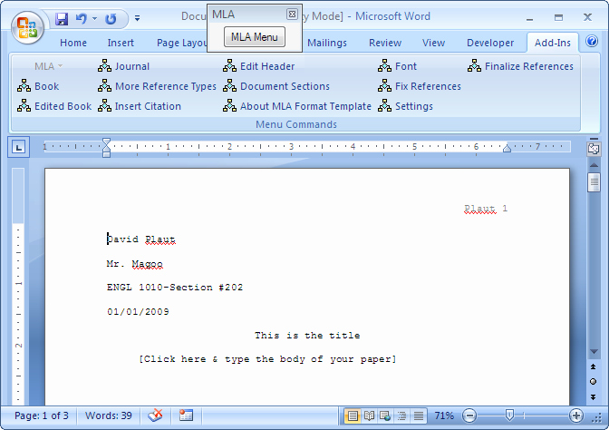 Mla formatting In Word 2010 Elegant Mla format Template