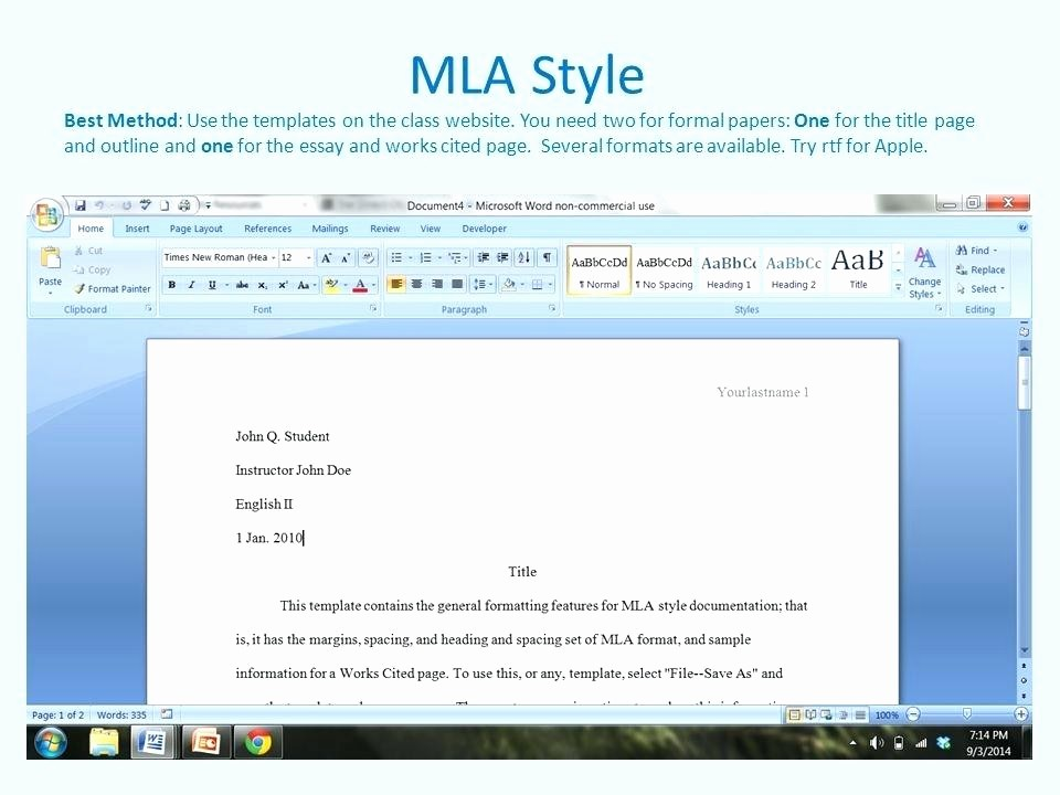 Mla formatting In Word 2010 Elegant Mla format Template Word 2010 I Ficial Research