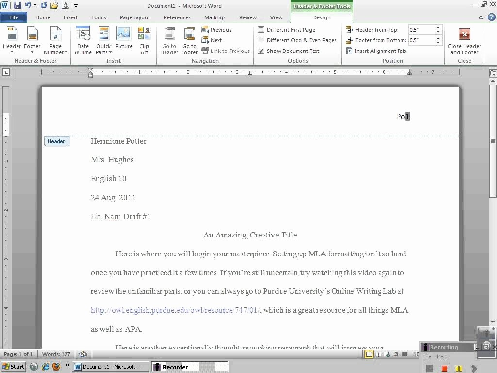 Mla formatting In Word 2010 Inspirational Setting Up Mla Header with Microsoft Word 2010
