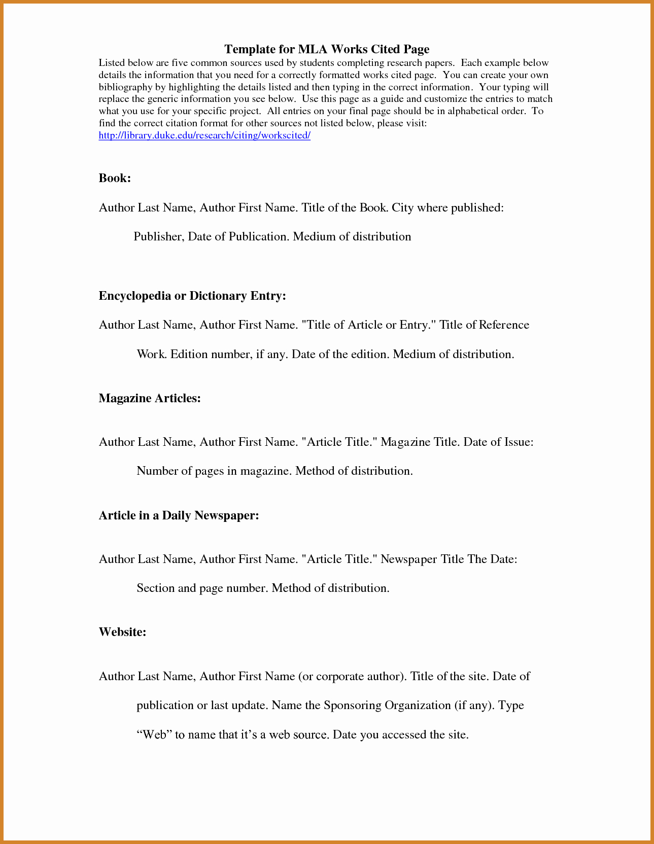 Mla Works Cited Page Template Elegant Mla Works Cited Page Template Templates Data