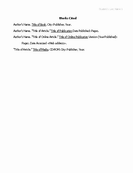 Mla Works Cited Page Template Fresh Works Cited List In Mla format