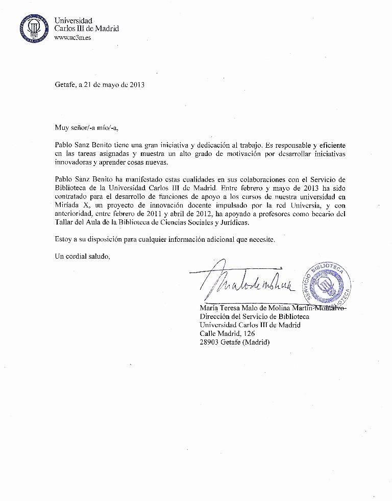 Modelo Carta De Recomendacion Personal Unique Carta De Re Endación Universidad Carlos Iii De Madrid
