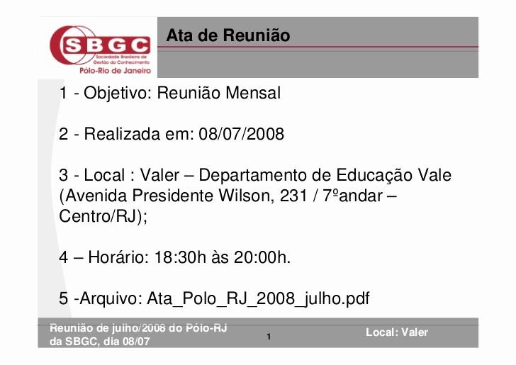 Modelo De ata De Reunião New ata De Reunião Do Pólo Rj Da Sbgc Julho 2008