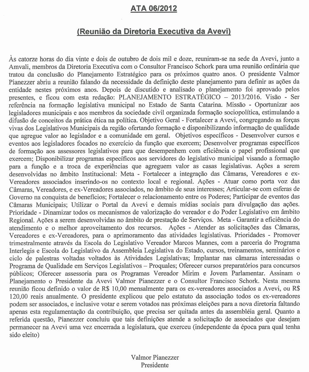 Modelo De ata De Reunião New Avevi associação Dos Vereadores Do Vale De Itapocu