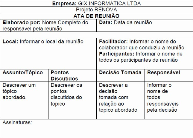 Modelo De ata De Reunião New Gestão De Projeto Implantação Sistema Wms Brasil Escola