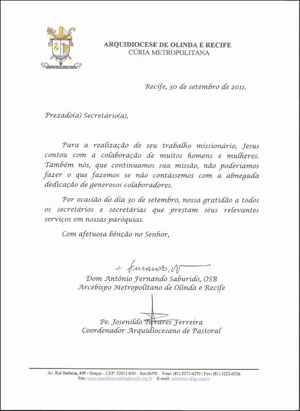 Modelo De Carta De Agradecimento Elegant Dom Fernando Parabeniza Os Secretários as Paroquiais