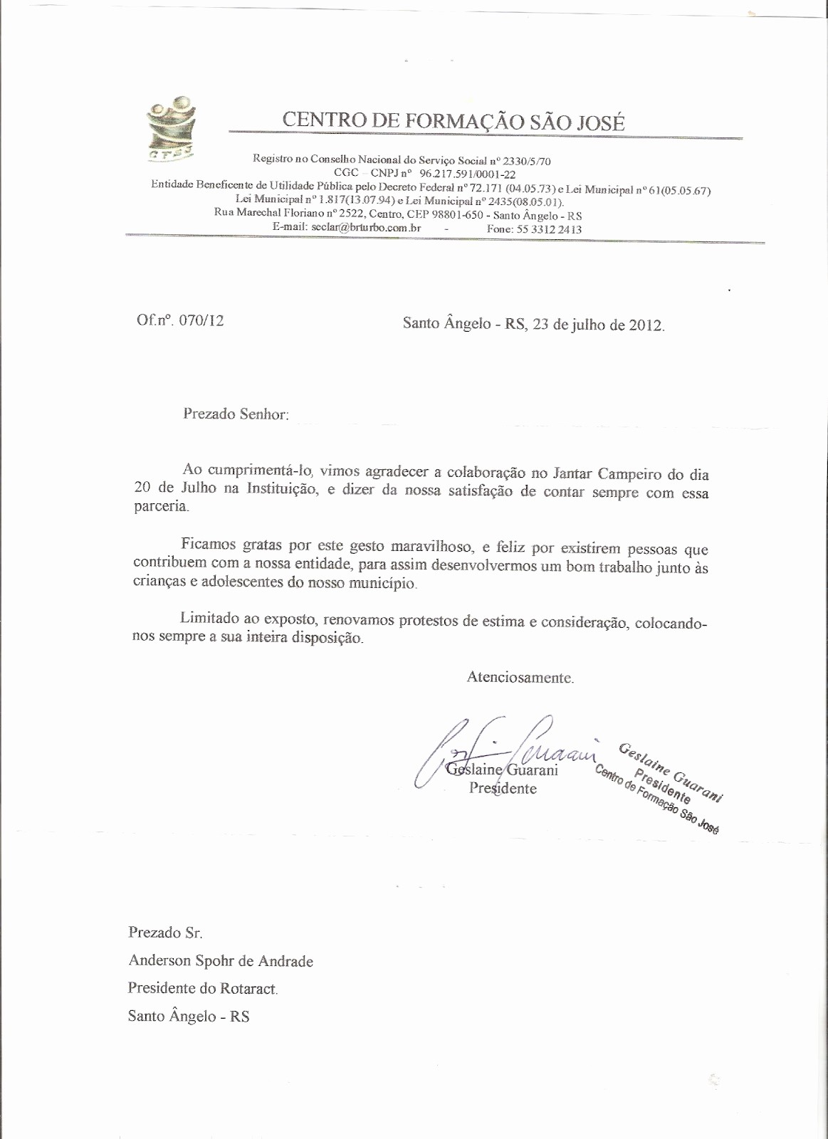 Modelo De Carta De Agradecimento Fresh Rotaract Club Santo Ngelo Carta De Agradecimento