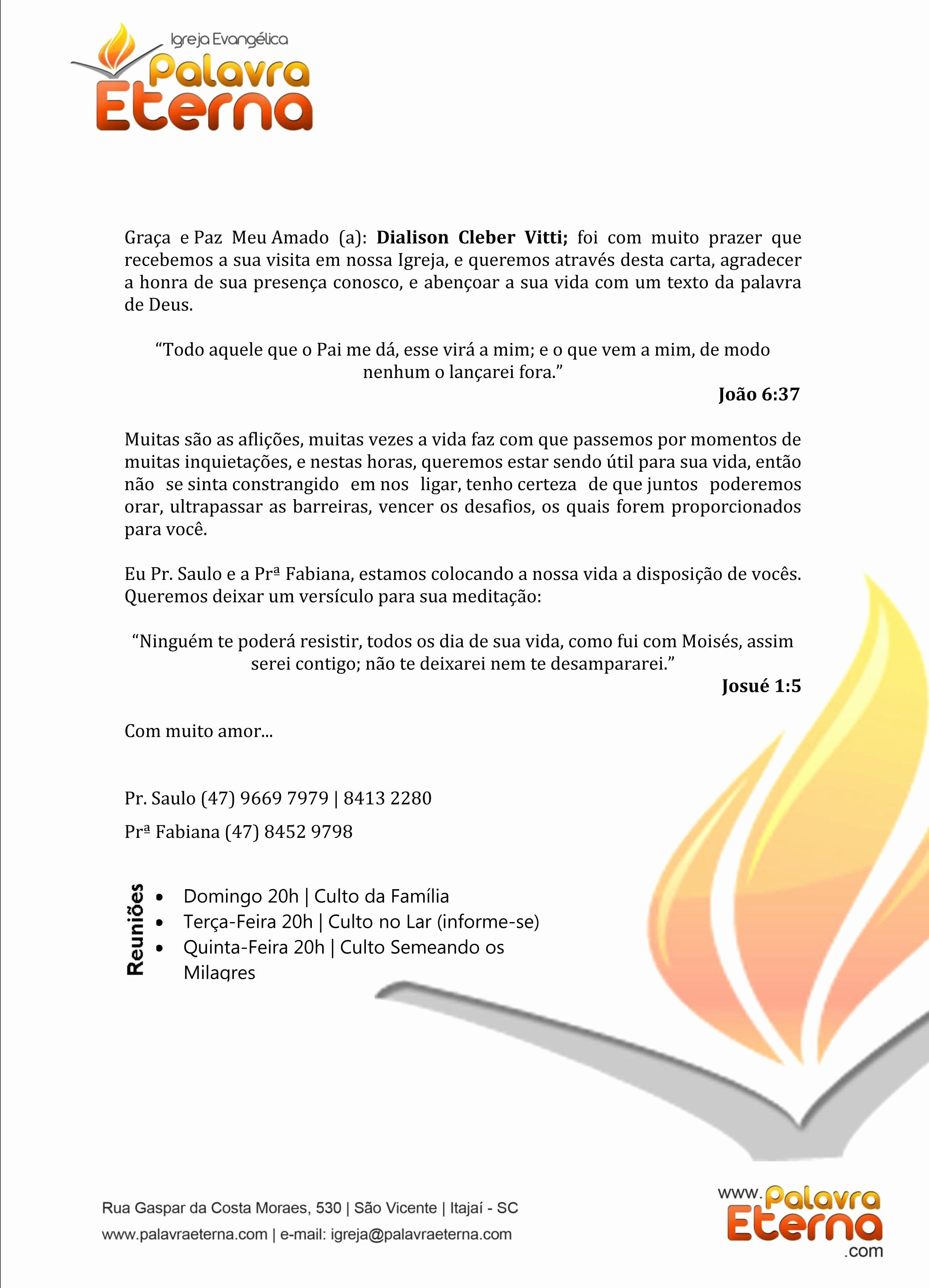 Modelo De Carta De Agradecimento Lovely Carta De Agradecimento Da Igreja Palavra Eterna
