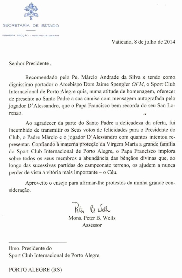 Modelo De Carta De Agradecimento New Interpiada Inter Recebe Carta Do Papa Francisco Agora O