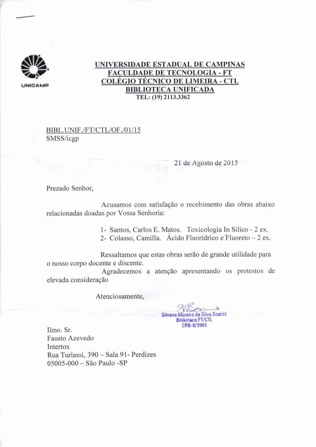 Modelo De Carta De Agradecimento New Universidade Estadual De Campinas Carta De Agradecimento