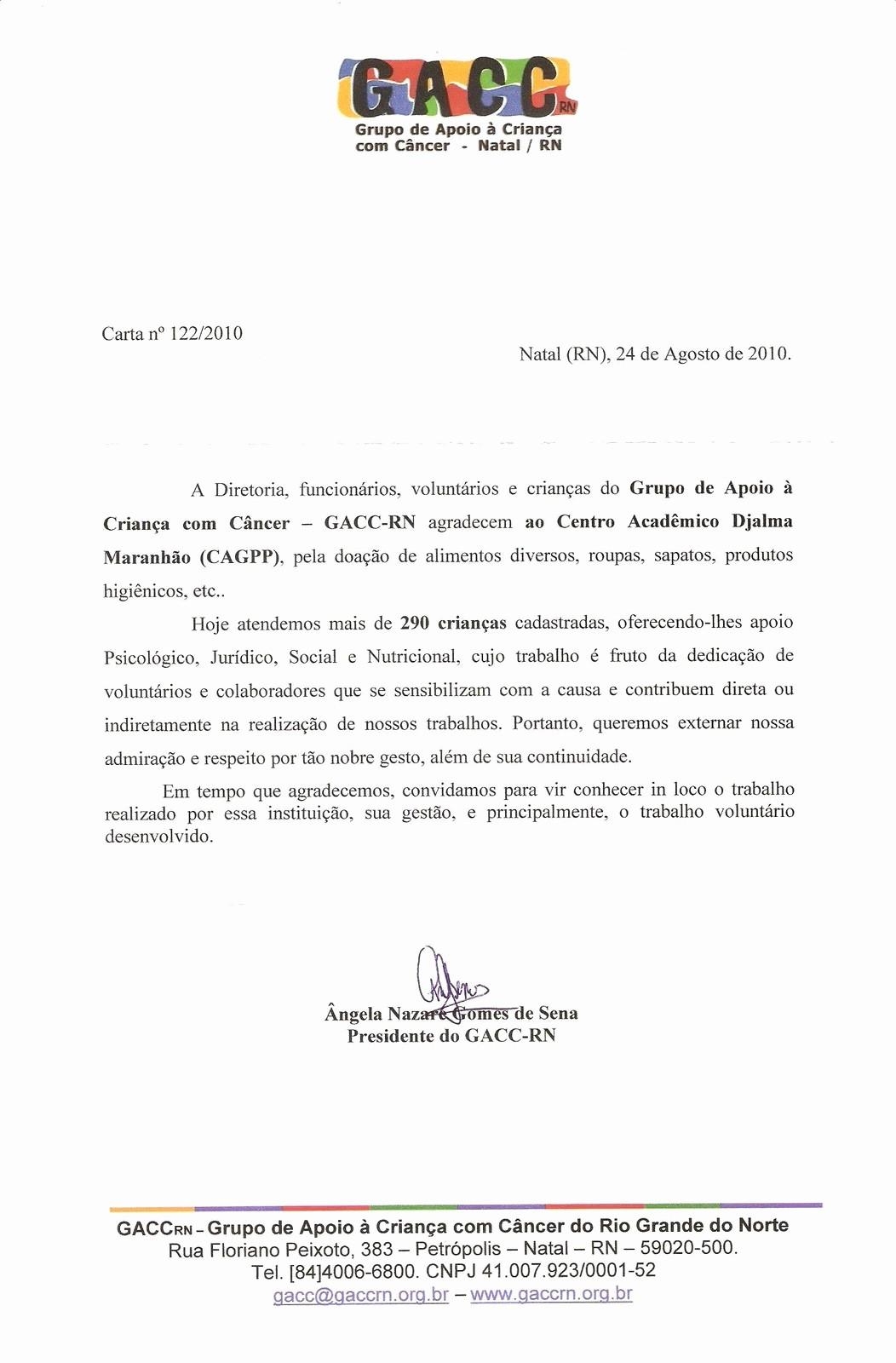 Modelo De Carta De Agradecimento Unique Cagpp Carta De Agradecimento Do Gacc