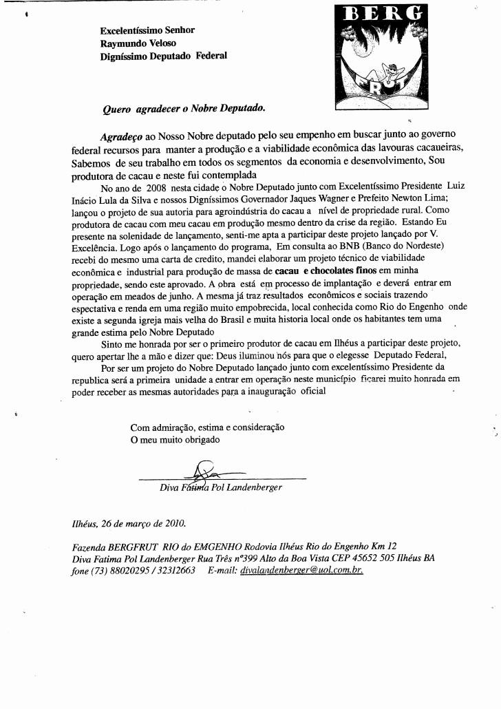 Modelo De Carta De Agradecimento Unique Carta Agradecimento Ao Deputado Veloso