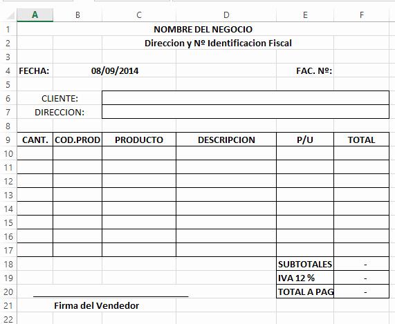 Modelo De Facturas En Excel Beautiful O Crear Tu Sistema De Facturacion En Excel Pao A Paso
