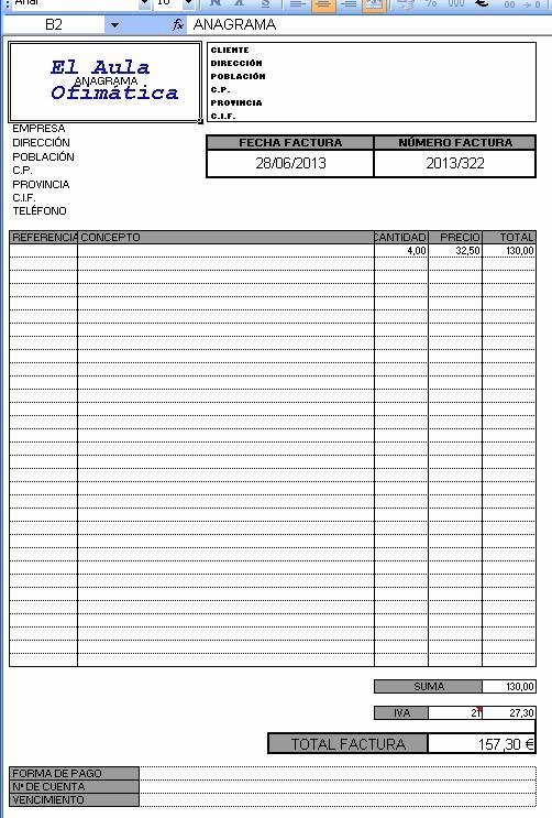 Modelo De Facturas En Excel Elegant El Aula Imática Factura En Excel