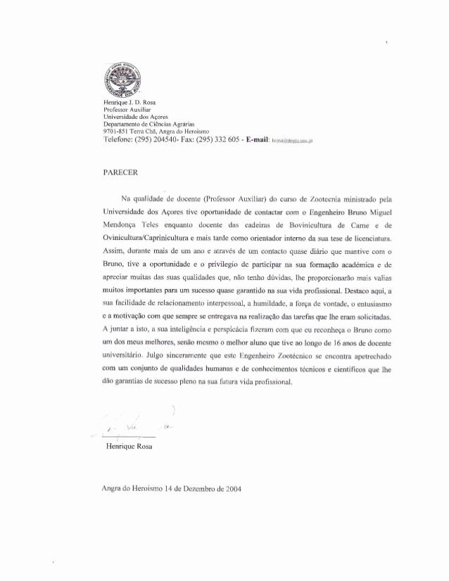 Modelos De Carta De Recomendacao Fresh Carta De Re Endação Académica