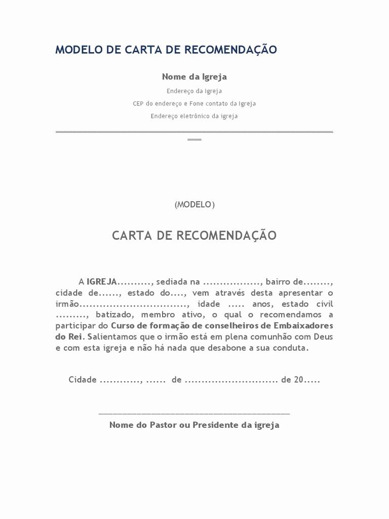 Modelos De Carta De Recomendacao Fresh Carta De Re Endação Para Semináriocx