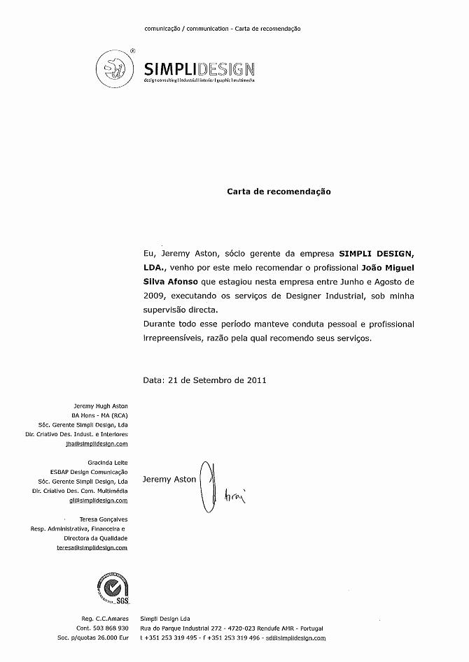 Modelos De Carta De Recomendacao Inspirational sobre Miguel Afonso Cv Miguelafonsodesign