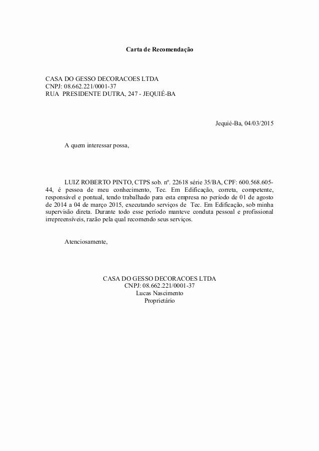 Modelos De Carta De Recomendacao Luxury Carta De Re Endação