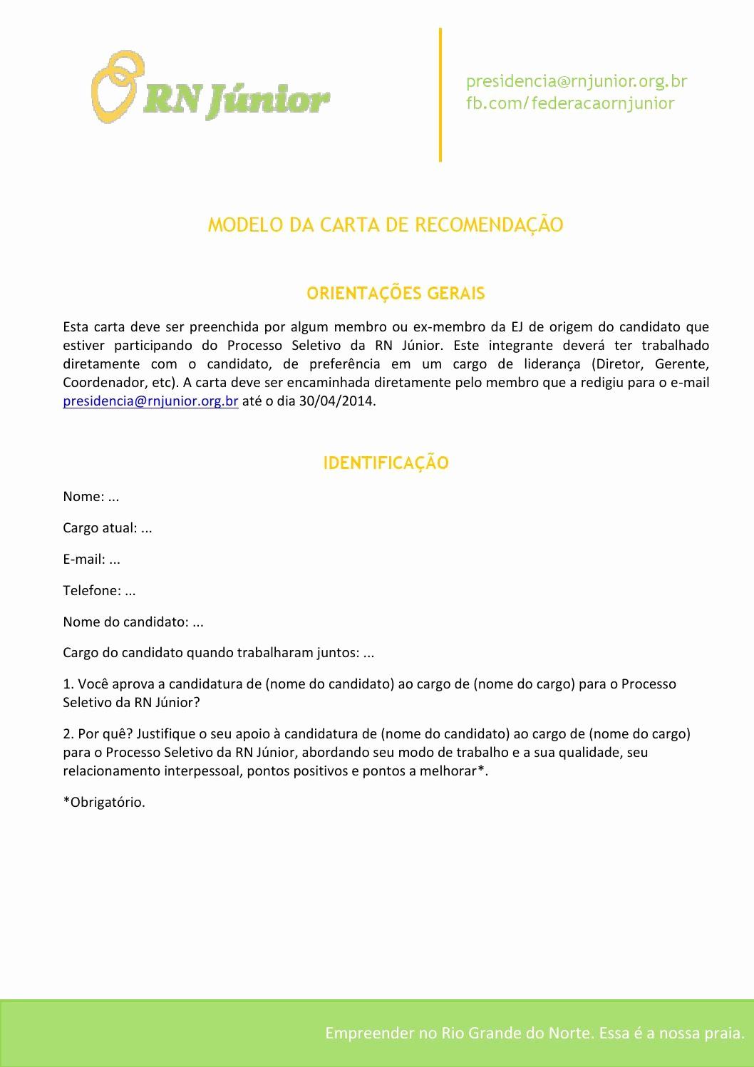 Modelos De Carta De Recomendacao Luxury Modelo De Carta De Re Endação Processo Seletivo Abril