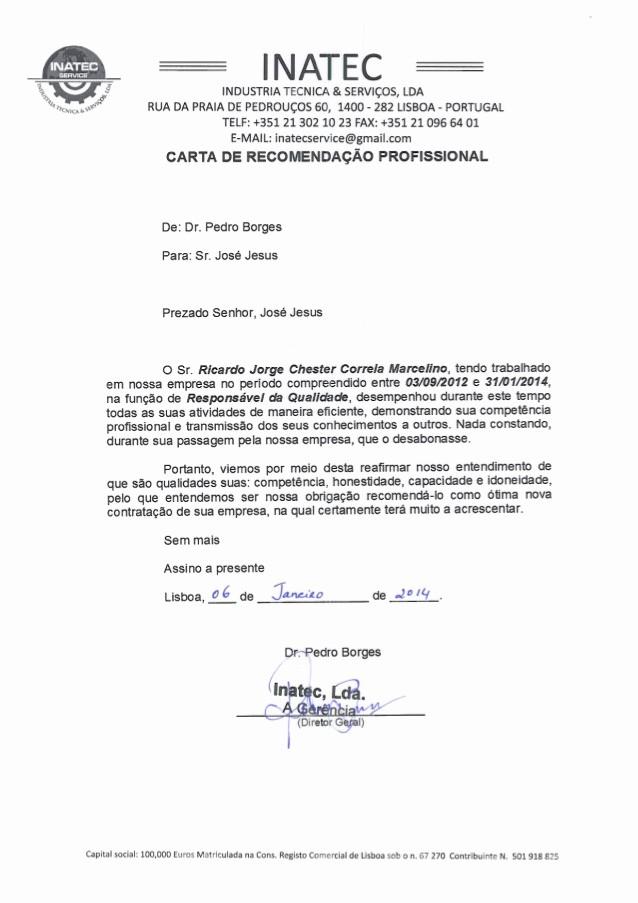 Modelos De Carta De Recomendacao New Carta Re Endacao Inatec