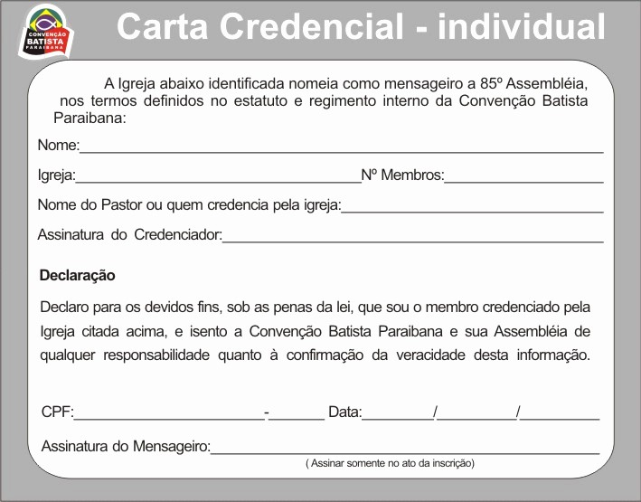 Modelos De Carta De Recomendacao Unique Modelo De Carta Credencial Para A 85ª assembléia Da Cbpb