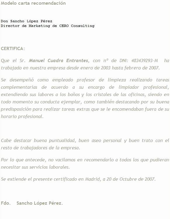 Modelos De Carta De Recomendacion Beautiful Ejemplo Carta Re Endacion Para Familiar Imagui