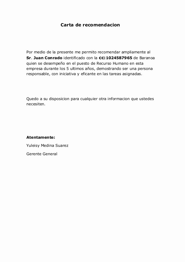 Modelos De Carta De Recomendacion Inspirational Carta De Re Endacion
