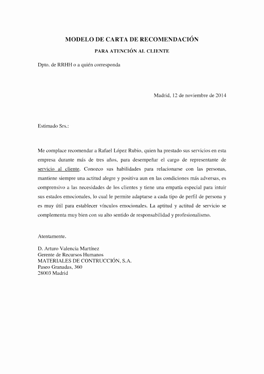 Modelos De Carta De Recomendacion Inspirational Ejemplo De Carta De Re Endación Para Servicio De