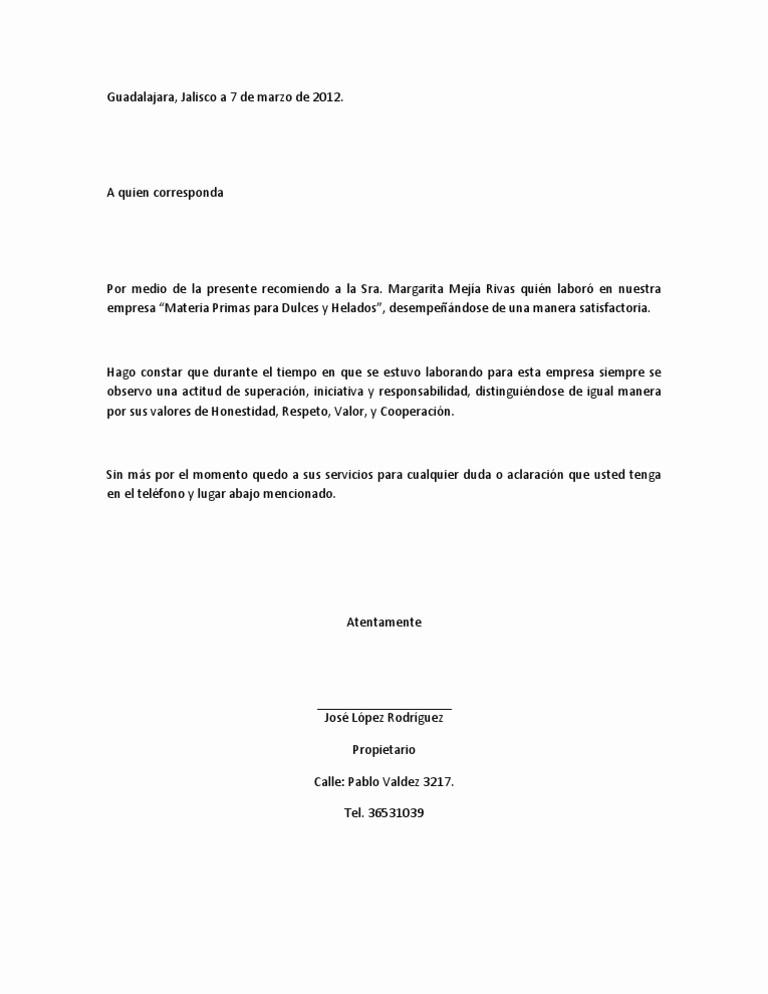 Modelos De Carta De Recomendacion Inspirational Imágenes De Carta De Re Endación Laboral