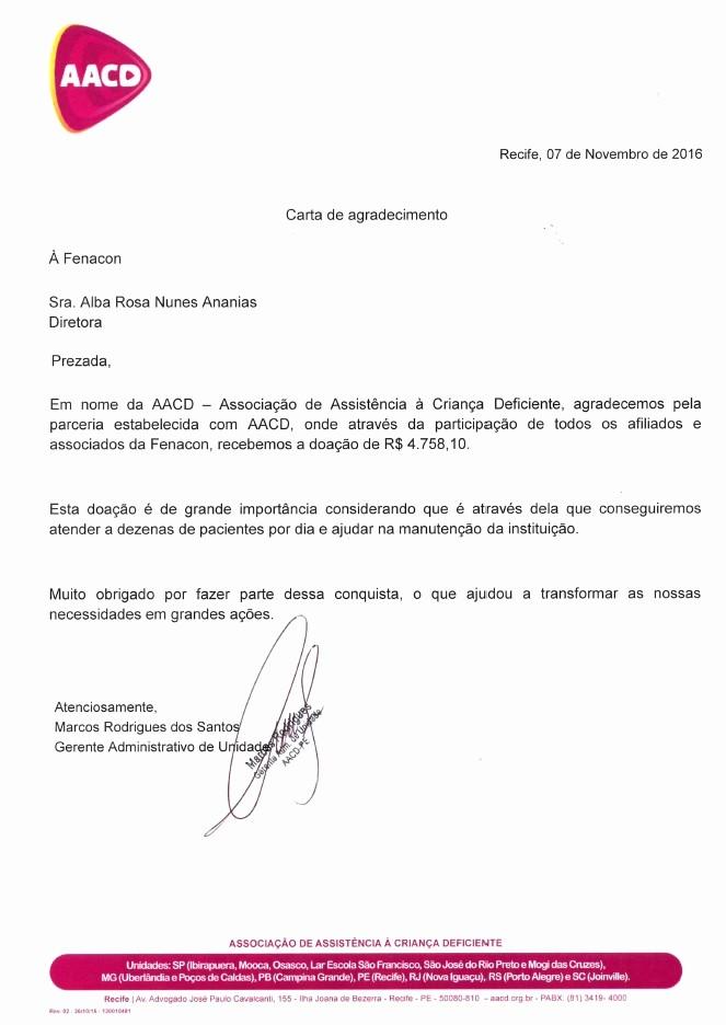 Modelos De Cartas De Agradecimento Best Of Aacd Carta De Agradecimento Fenacon