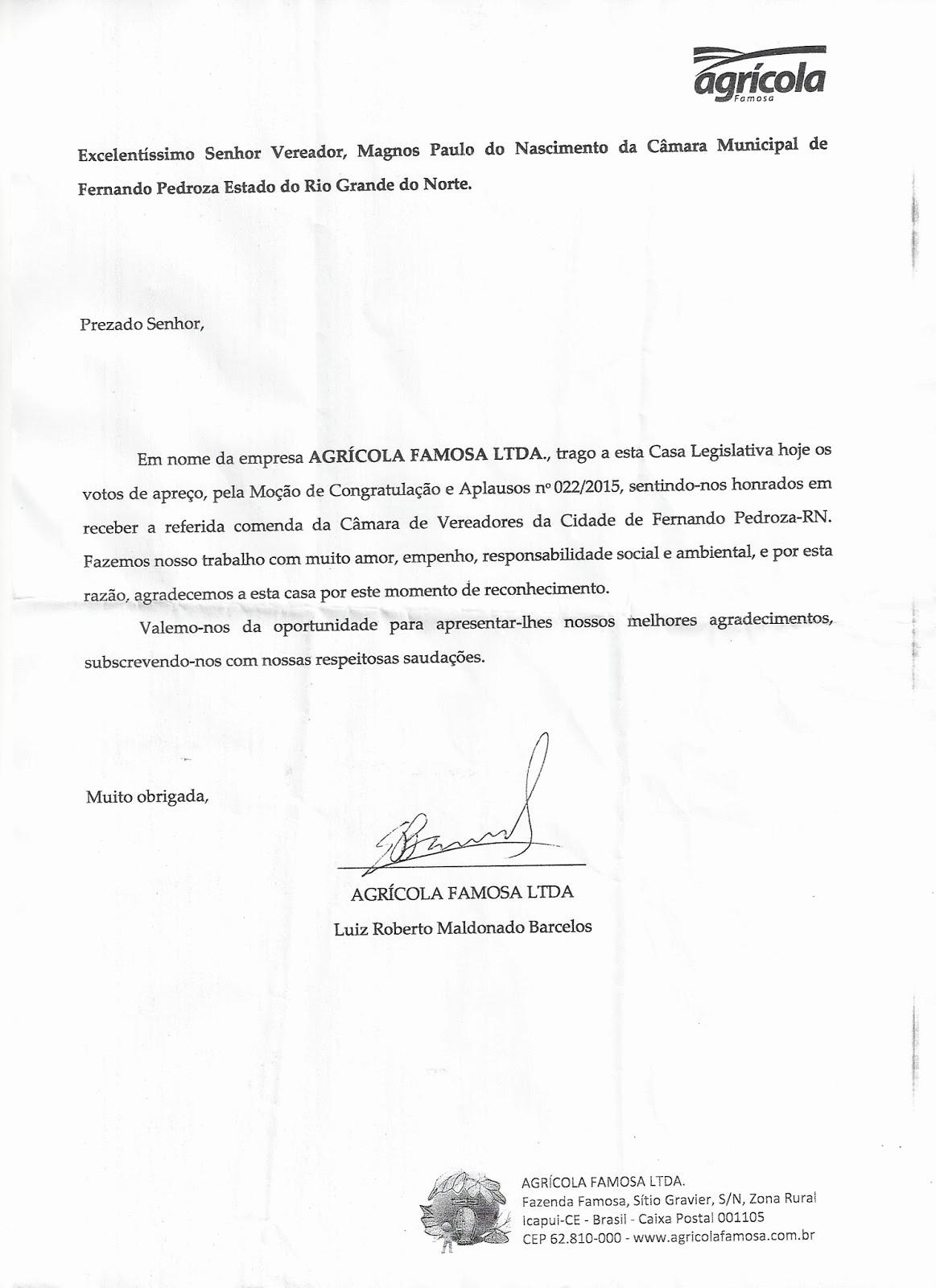 Modelos De Cartas De Agradecimento Fresh Blog Angicos Noticias Empresário Luiz Roberto Maldonado