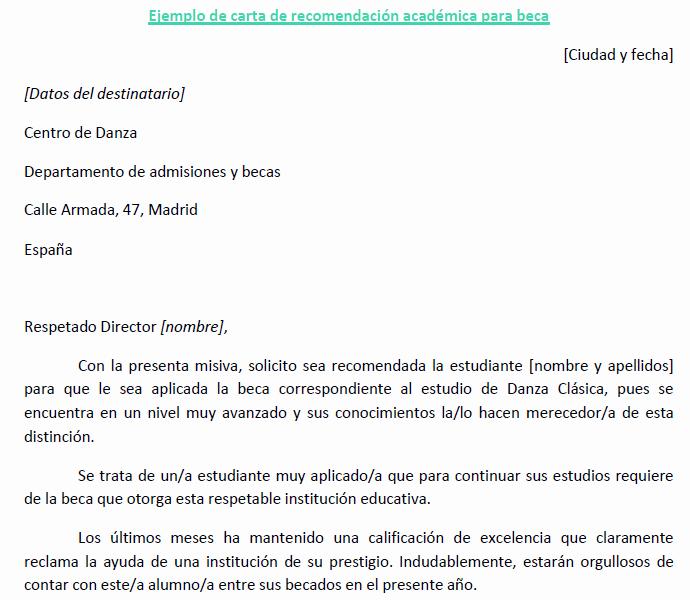 Modelos De Cartas De Recomendacion Elegant Carta Re Endacion Academica Beca