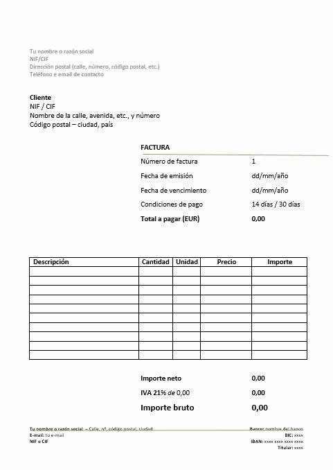 Modelos De Facturas En Excel Luxury Modelo De Factura