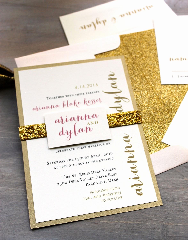 Modelos De Tarjetas De Invitacion Unique Glitter Wedding Invitations Gold Glitter Wedding Invitation