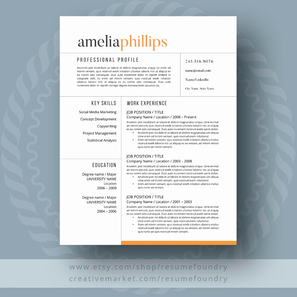 Modern Resume Template Free Word Awesome Modern Resume Template for Word 1 3 Page Resume Cover