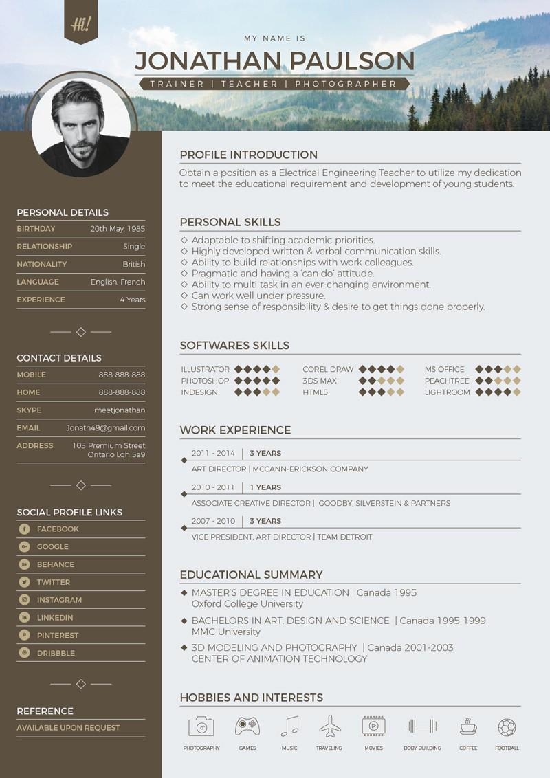 Modern Resume Template Free Word Best Of Free Professional Modern Resume Cv Portfolio Page