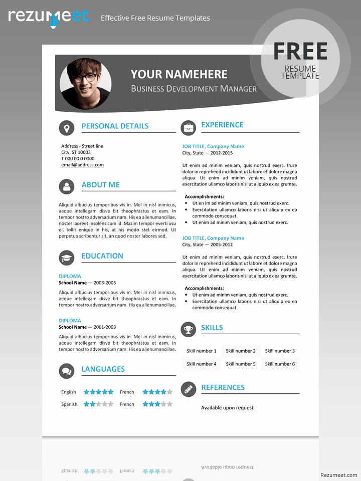 Modern Resume Template Free Word Elegant Hongdae Modern Resume Template