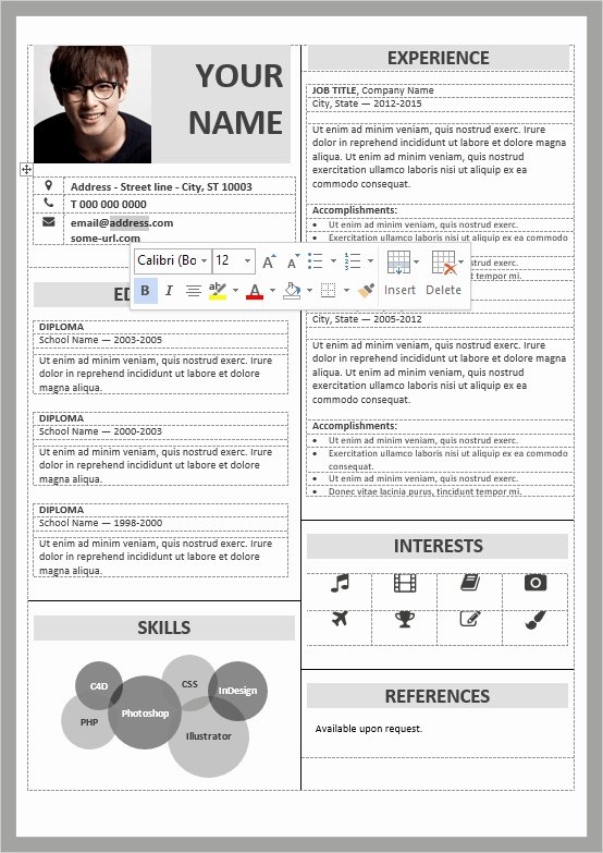 Modern Resume Template Free Word Inspirational Fitzroy Modern Border Resume Template