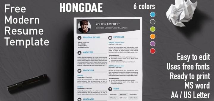 Modern Resume Template Free Word Inspirational Hongdae Modern Resume Template