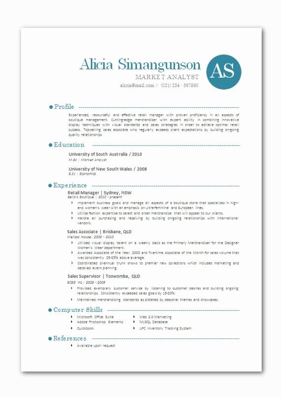 Modern Resume Template Free Word Luxury Modern Microsoft Word Resume Template Alicia by Inkpower