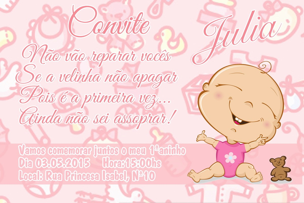 Moldes Para Convites De Aniversario Beautiful Convite De Aniversário De 1 Ano Menina No Elo7