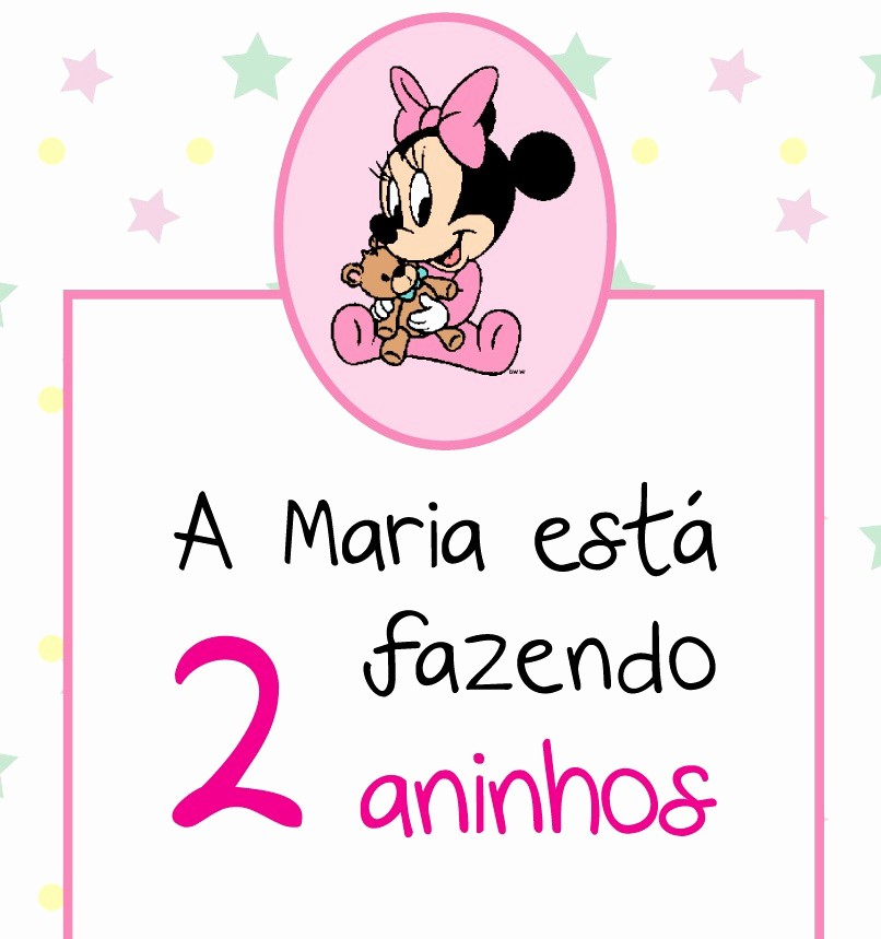 Moldes Para Convites De Aniversario Elegant Aniversário Minnie Baby – 2 Aninhos