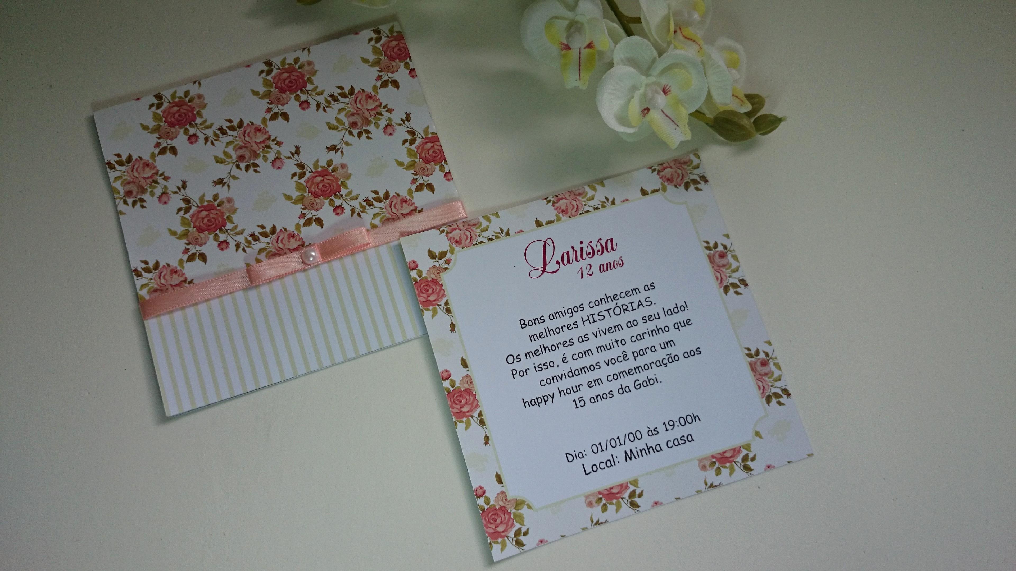 Moldes Para Convites De Aniversario Elegant Convite Aniversário E 15 Anos Floral Li Feito à Mão
