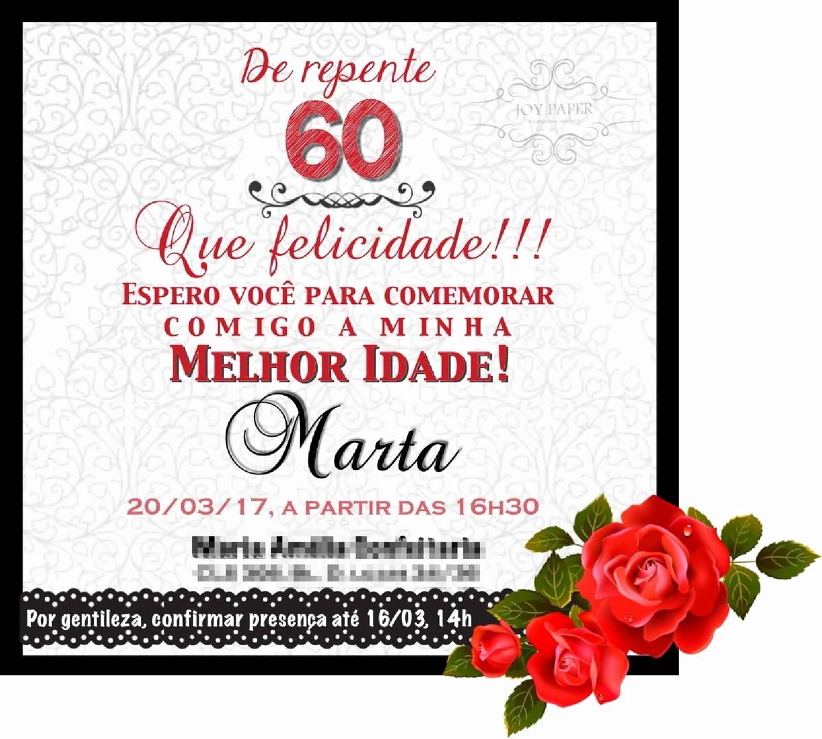 Moldes Para Convites De Aniversario Elegant Convite Digital Festa 60 Anos No Elo7