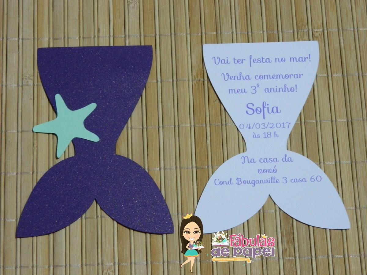 Moldes Para Convites De Aniversario New Convite Sereia Iii No Elo7