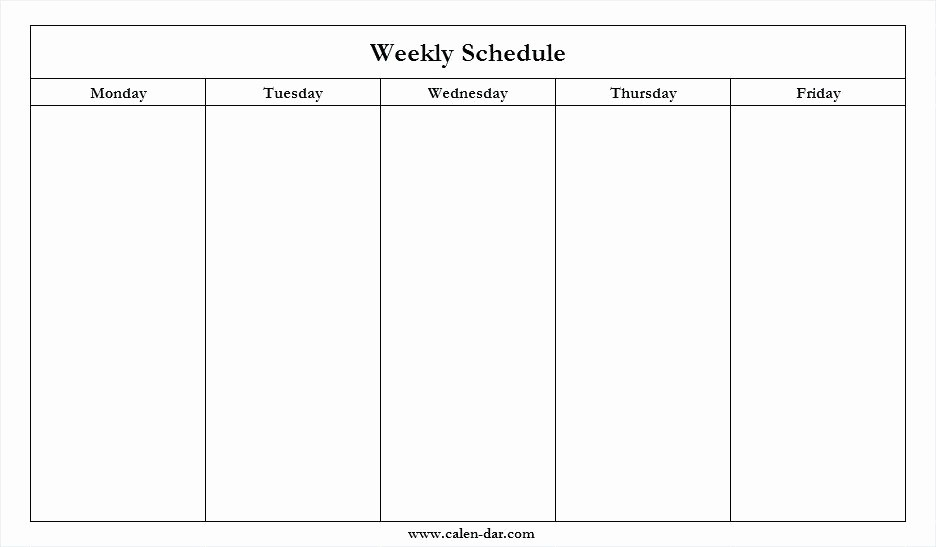 Monday Through Friday Hourly Calendar Awesome Mon Friday Calendar Template Blank Thru Monday Through