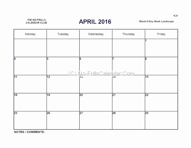Monday Through Friday Hourly Calendar Fresh Mon Friday Calendar Template Blank Thru Monday Through