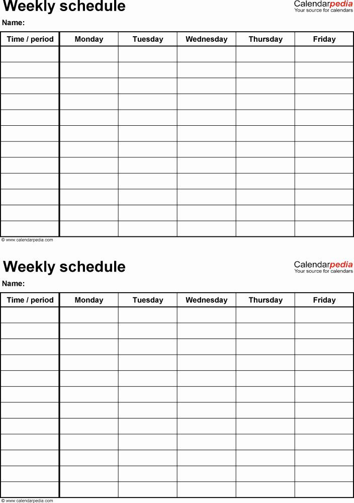 Monday Through Friday Hourly Calendar Inspirational Free Weekly Schedule Templates for Excel 18 Templates